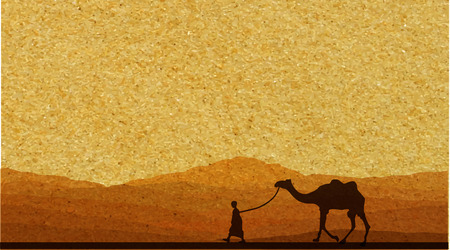 camel desert: Caravan with camels in desert with mountains on background. Vector illustration