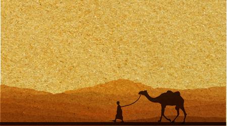 desierto del sahara: Caravana con camellos en el desierto con las montañas de fondo. Ilustración vectorial