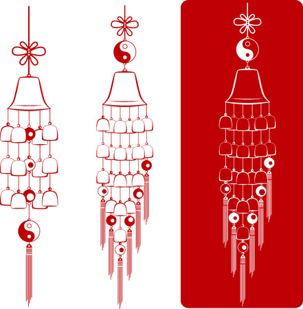 clang: Wind Chimes. Silhouette of a wind chimes. Design element