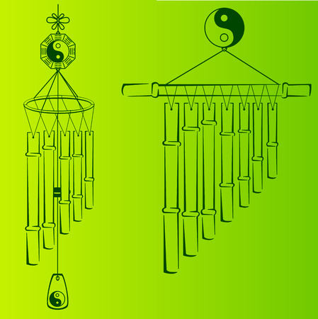 chimes: Wind Chimes. Silhouette of a wind chimes. Design element