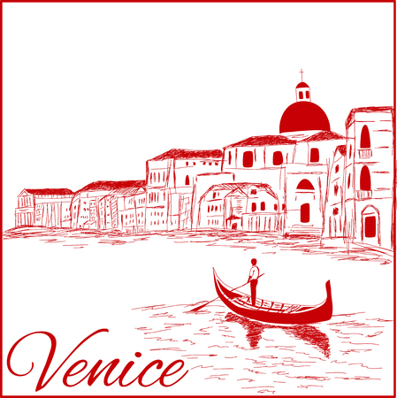 Streets in Venice with gondola, vintage engraved illustration, hand drawn