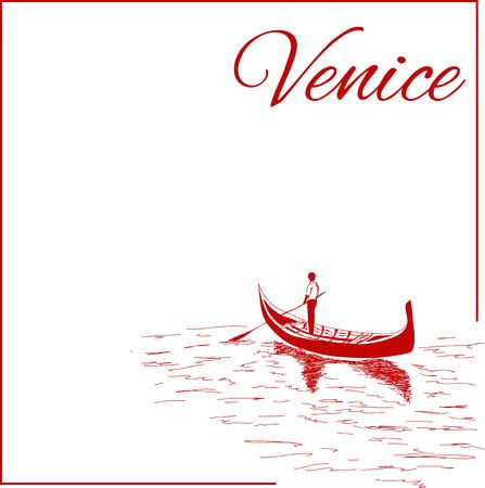Straßen in Venedig mit Gondel, Jahrgang gravierte Darstellung, von Hand gezeichnet