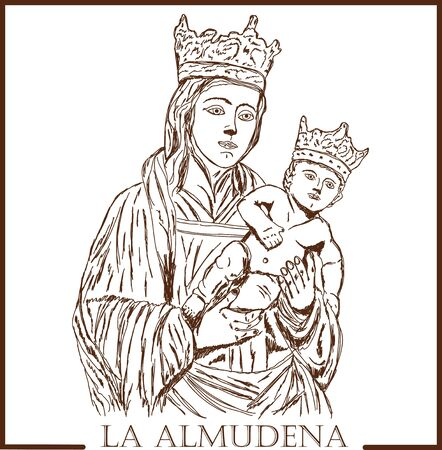 Handmade drawing on the theme of the Spanish holiday Almudena