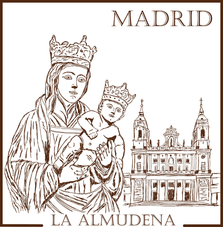 old church: Handmade drawing on the theme of the Spanish holiday Almudena