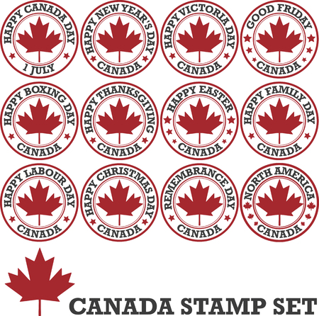 custom letters: Canadian holidays. Set of vector patriotic stamps Illustration