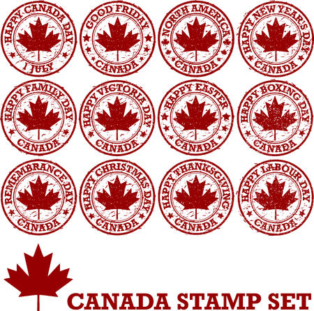 victoria: Canadian holidays. Set of vector patriotic stamps Illustration