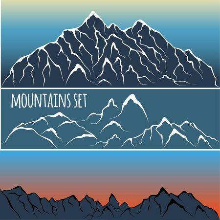 mountain range: Vector illustration of a mountain range. Alpine glacier