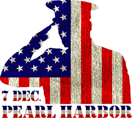 soldado: Pearl Harbor. Día de la conmemoración. Ilustración del vector. Fondo patriótico
