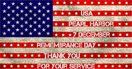 Pearl Harbor. Día de la conmemoración. Ilustración del vector. Fondo patriótico