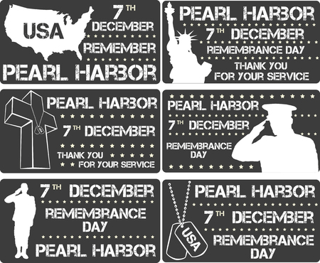 harbor: Pearl Harbor. Remembrance day. Vector illustration. Patriotic background