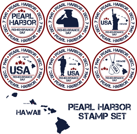 Pearl Harbor. Remembrance day. Vector illustration Patriotic stamps