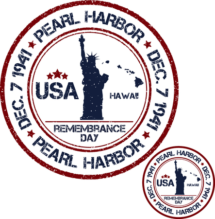 remembrance day: Pearl Harbor. Remembrance day. Vector illustration Patriotic stamps