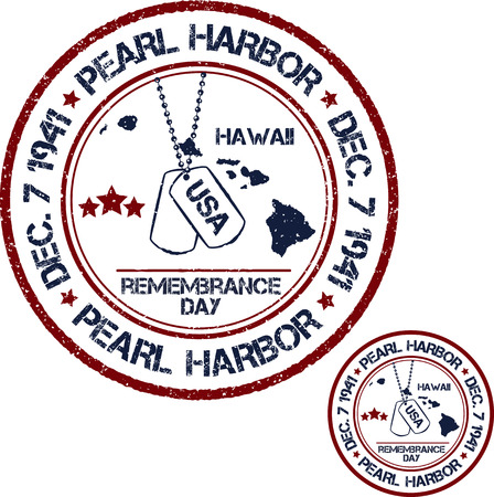 pearl harbor: Pearl Harbor. Remembrance day. Vector illustration Patriotic stamps