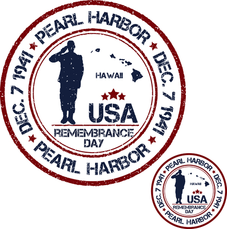 harbor: Pearl Harbor. Remembrance day. Vector illustration Patriotic stamps