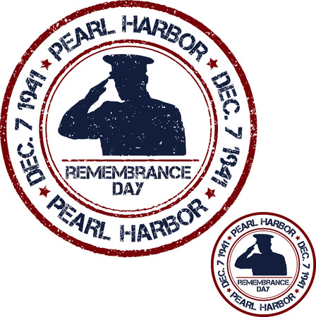 wartime: Pearl Harbor. Remembrance day. Vector illustration Patriotic stamps