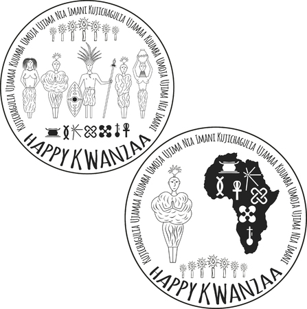 kwanzaa: Symbols of Kwanzaa with silhouette of couple of Africans. Vector illustration Illustration