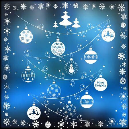 Happy New Year and Marry Christmas. Holiday card. Vector illustration Illusztráció
