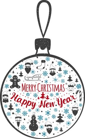 marry christmas: Happy New Year and Marry Christmas. Christmas toy. Vector illustration