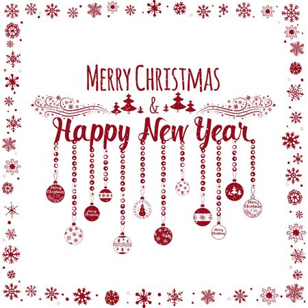 marry christmas: Happy New Year and Marry Christmas. Holiday card. Vector illustration Illustration