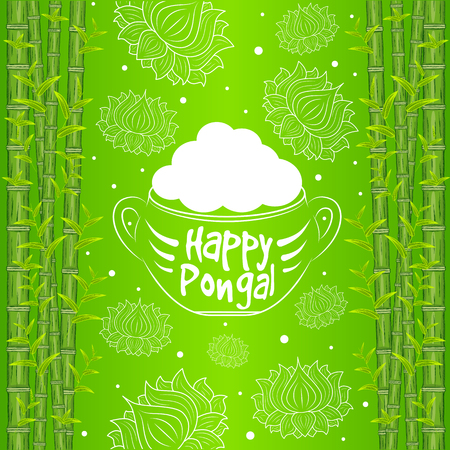 kalash: Indian harvesting festival, Happy Pongal. Vector illustration of Happy Pongal greeting card.
