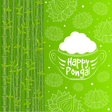 asian family: Indian harvesting festival, Happy Pongal. Vector illustration of Happy Pongal greeting card.