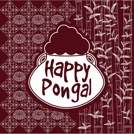pongal: Indian harvesting festival, Happy Pongal. Vector illustration of Happy Pongal greeting card.