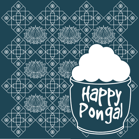 sugarcane: Indian harvesting festival, Happy Pongal. Vector illustration of Happy Pongal greeting card.