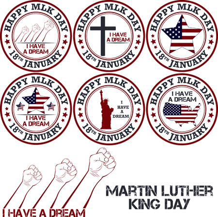 martin luther king: Martin luther king day stamp. Vector illustration