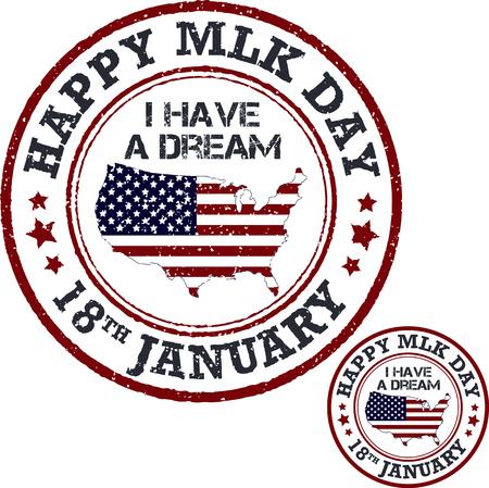 Martin Luther King Day stamp. Vektor-Illustration
