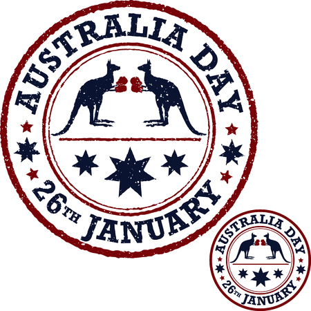 red kangaroo: Australia day poster. Australia Day Background. National Celebration Card. Stock Photo