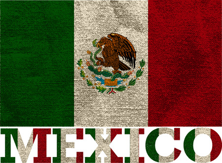 textured mexican flag, isolated objects, vector illustration