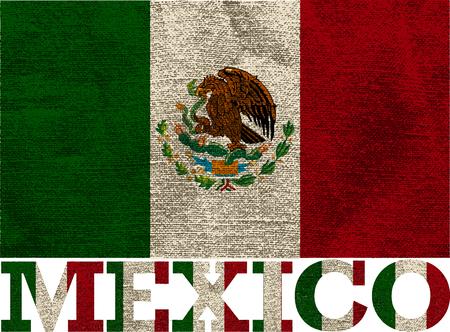 bandera mexicana con textura, objetos aislados, ilustración vectorial Foto de archivo