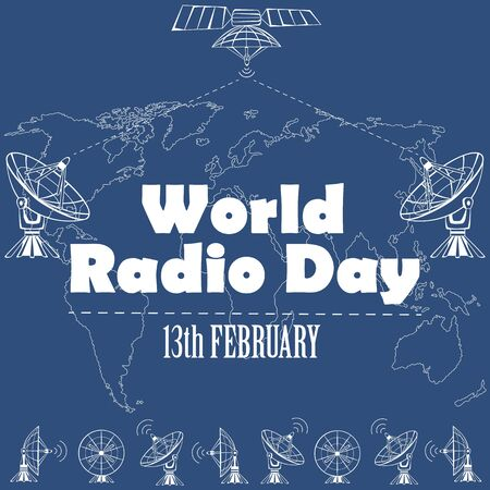sat: World Radio Day poster with SAT in flat design Illustration