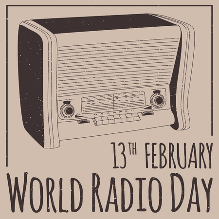 sat: World Radio Day poster with SAT in flat design Stock Photo