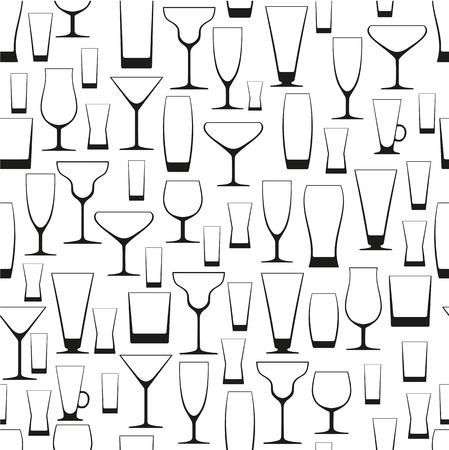 tonic: pattern of different glasses on a white background, vector illustration
