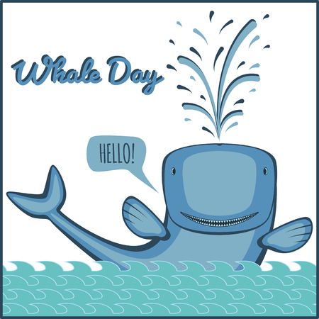 fish animal: World whale day. Greeting card, vector illustration