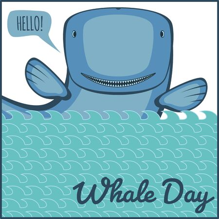 ocean fish: World whale day. Greeting card, vector illustration