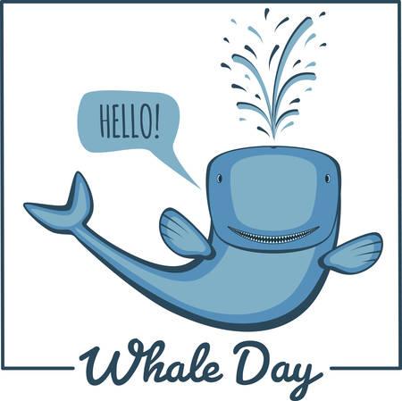 cute animal cartoon: World whale day. Greeting card, vector illustration