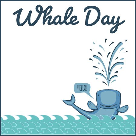 fish tail: World whale day. Greeting card, vector illustration