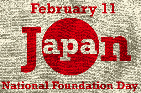 foundation: Japan national foundation day, greeting card, vector illustration