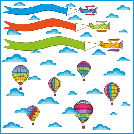 avion caricatura: air balloon and airplane composition, isolated objects on a white background Vectores