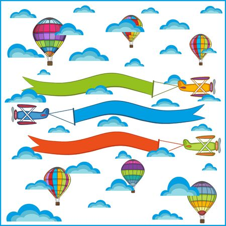 clouds cartoon: air balloon and airplane composition, isolated objects on a white background Illustration