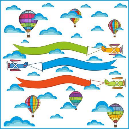 nubes caricatura: globo de aire y la composición del avión, objetos aislados sobre un fondo blanco Vectores