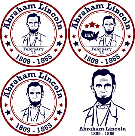 abraham: Abraham Lincoln stamps. American president, vector illustration Illustration