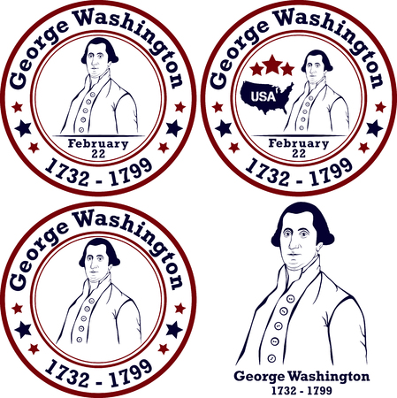 george washington: George Washington stamps. American president, vector illustration