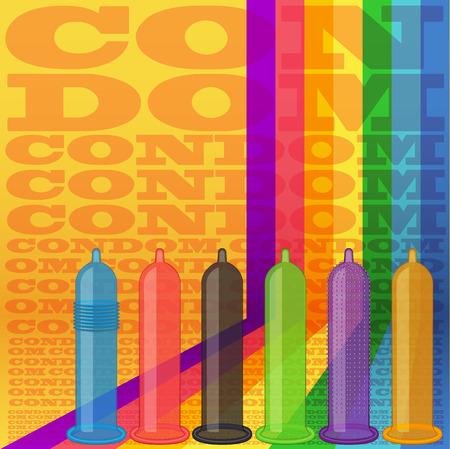 condones: Los condones fondo de rayas. ilustraci�n vectorial de color. Estilo retro
