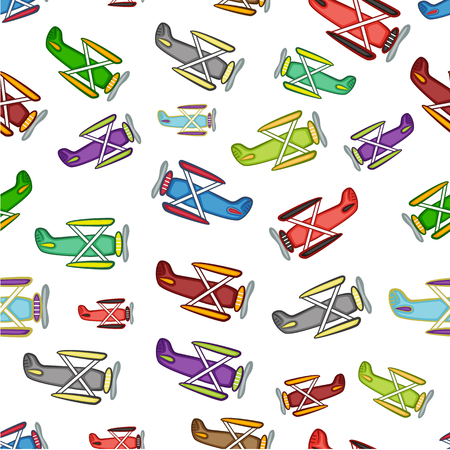 retro cartoon: airplane pattern, isolated objects on a white background
