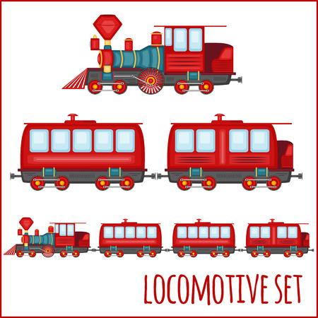 car shop: Vector set of vintage locomotives on a blank background