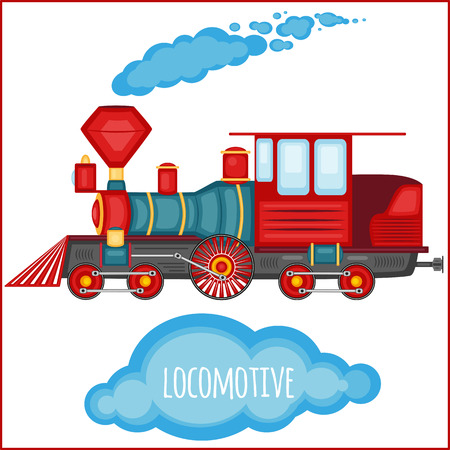 cargo train: Vector vintage locomotiv on a blank background