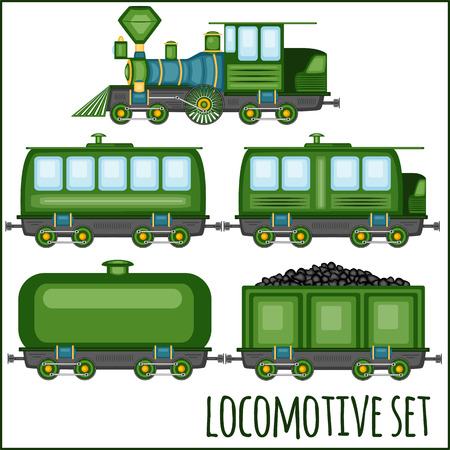 loco: Vector set of vintage locomotives on a blank background